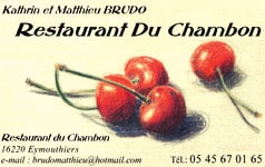 Restaurant du Chambon 16220 Eymouthiers - 05 45 67 01 65
